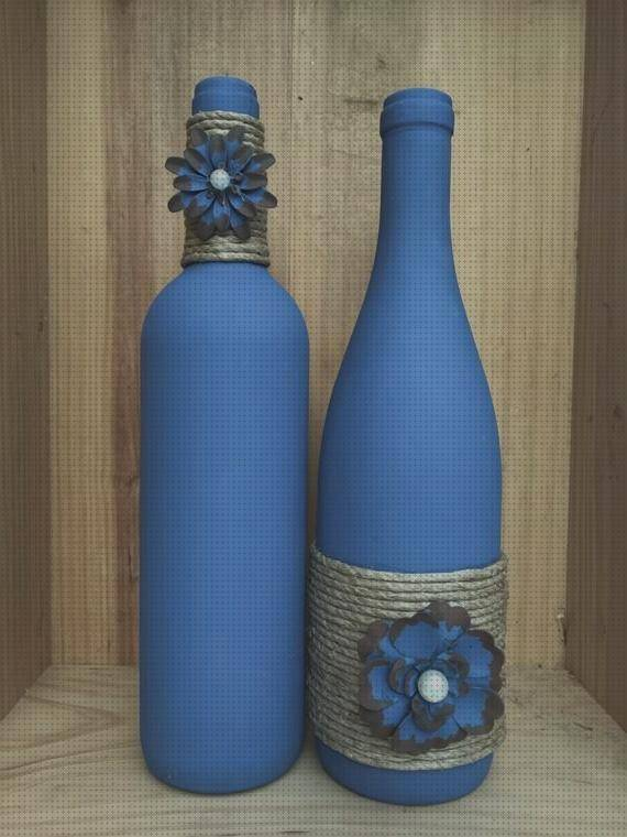Review de decorados botellas botella decoradas color azul